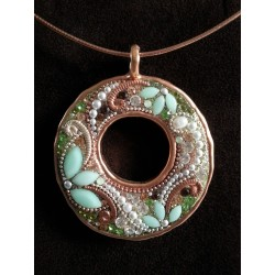 Beautiful handmade set- Round pendant Necklace (Copper)