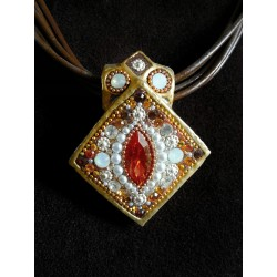Beautiful handmade set- square pendant Necklace and Earrings