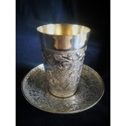 Pure Silver Kiddush cup- Decorative flowers & grapes design.