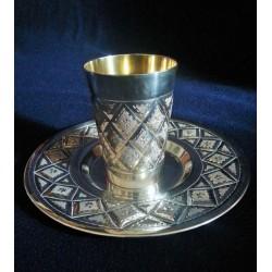 Beautiful Pure Silver Kiddush cup Diamonds design