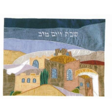 Raw silk Challa cover Jerusalem Panorama design