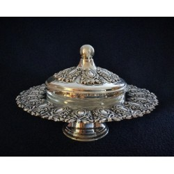 """Masoret"" decorative Silver Honey Dish"