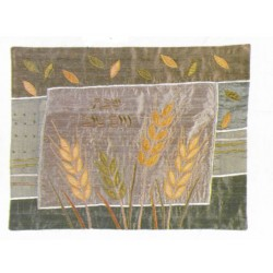 Raw Silk Hallah cover Wheat design (Gold)