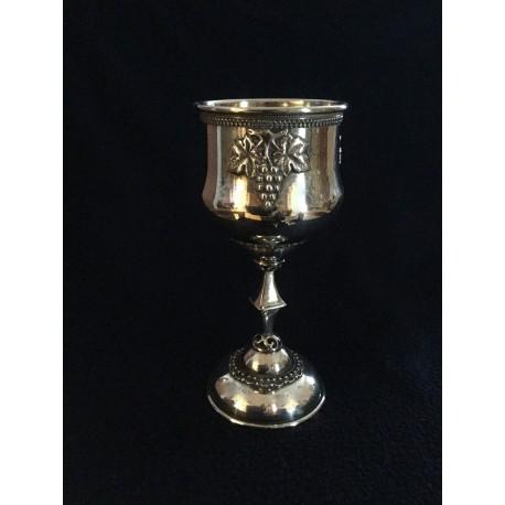 """Pure Silver Kiddush cup- Modern """"Gefen"""" design"""