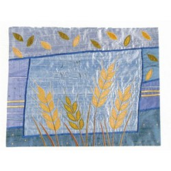 Raw Silk Hallah cover Wheat design (Blue)