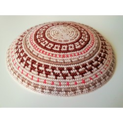 Beige Carpet design Knitted Kippah with Brown and Pink Stripes