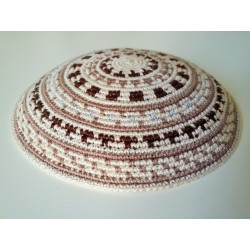 Beige Carpet design Knitted Kippah with Brown Stripes