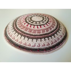 Carpet design Knitted Kippah Beige with Brown, Green and Maroon Stripes