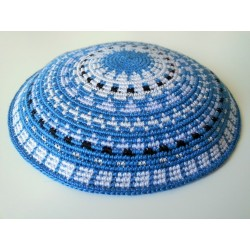 Light Blue Carpet design- Knitted Kippa