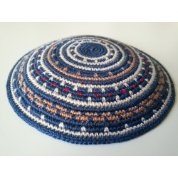 Blue Carpet design- Knitted Kippa