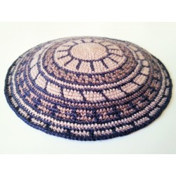 Blue & Beige Carpet design- Knitted Kippa