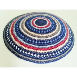Blue Carpet design- Knitted Kippa (Multi color stripes)