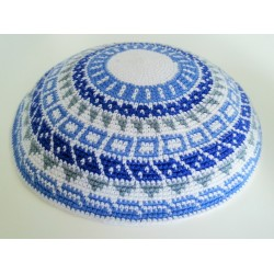 Large Knitted Kippot - White / Black