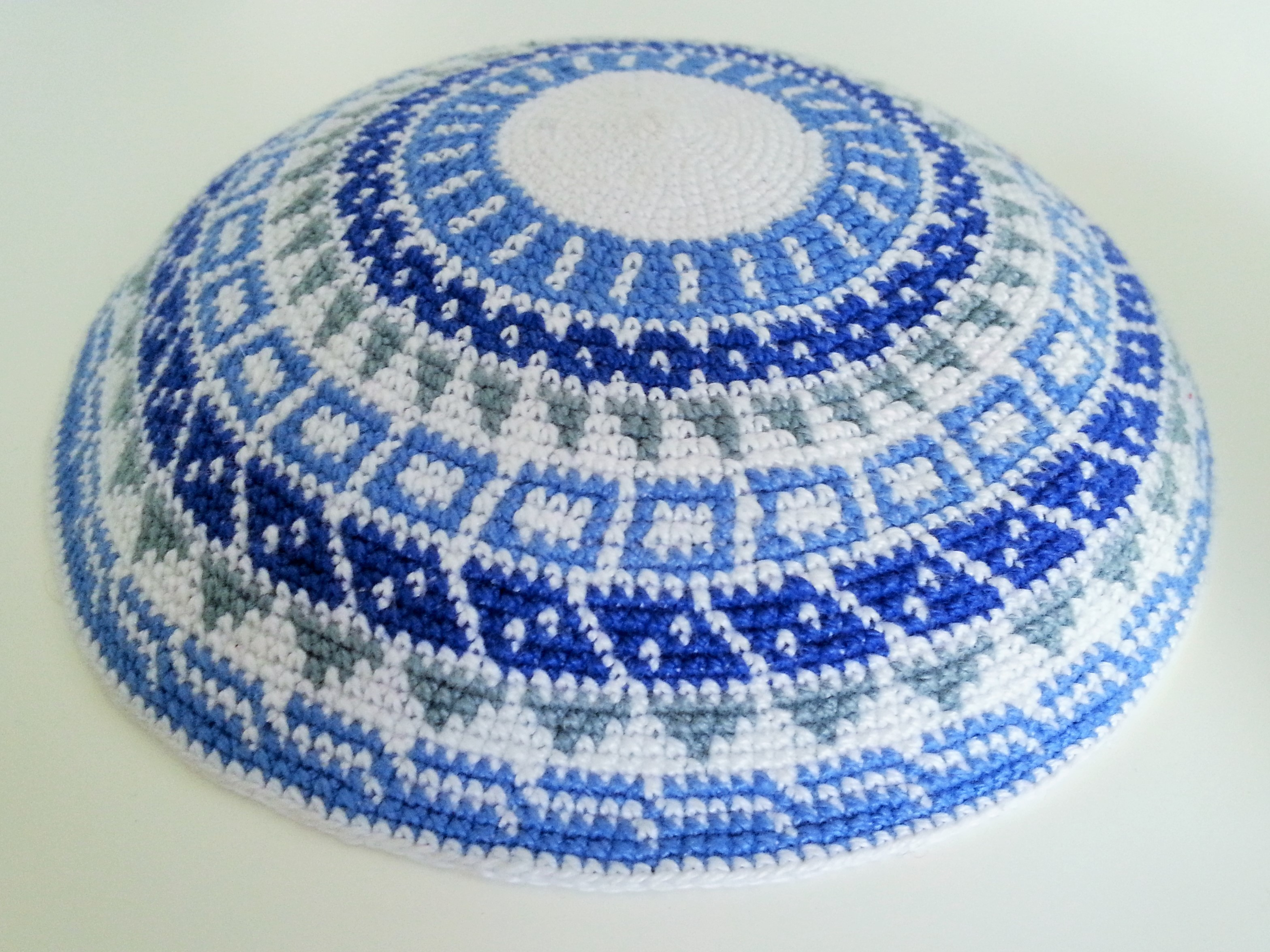 Large Knitted Kippot - White / Black - Silver Point Judaica - Esther ...