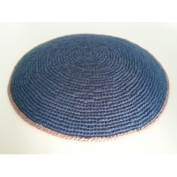 Blue Knitted Kippah with Beige Stripe on border