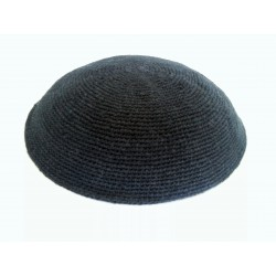 Large Plain Classic Black Knitted Kippah