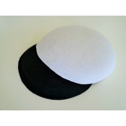 Large Plain White Classic Knitted Kippah