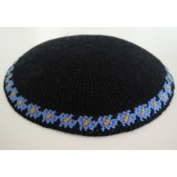 Black Classic Knitted Kippah with Flowers on base