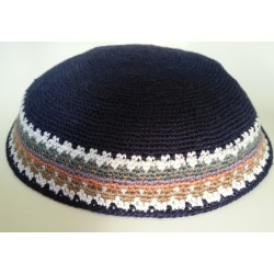 Large Black Knitted Kippah with patterned border