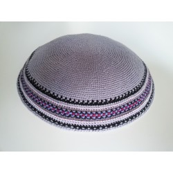 Large Grey Classic Knitted Kippah with patterned border