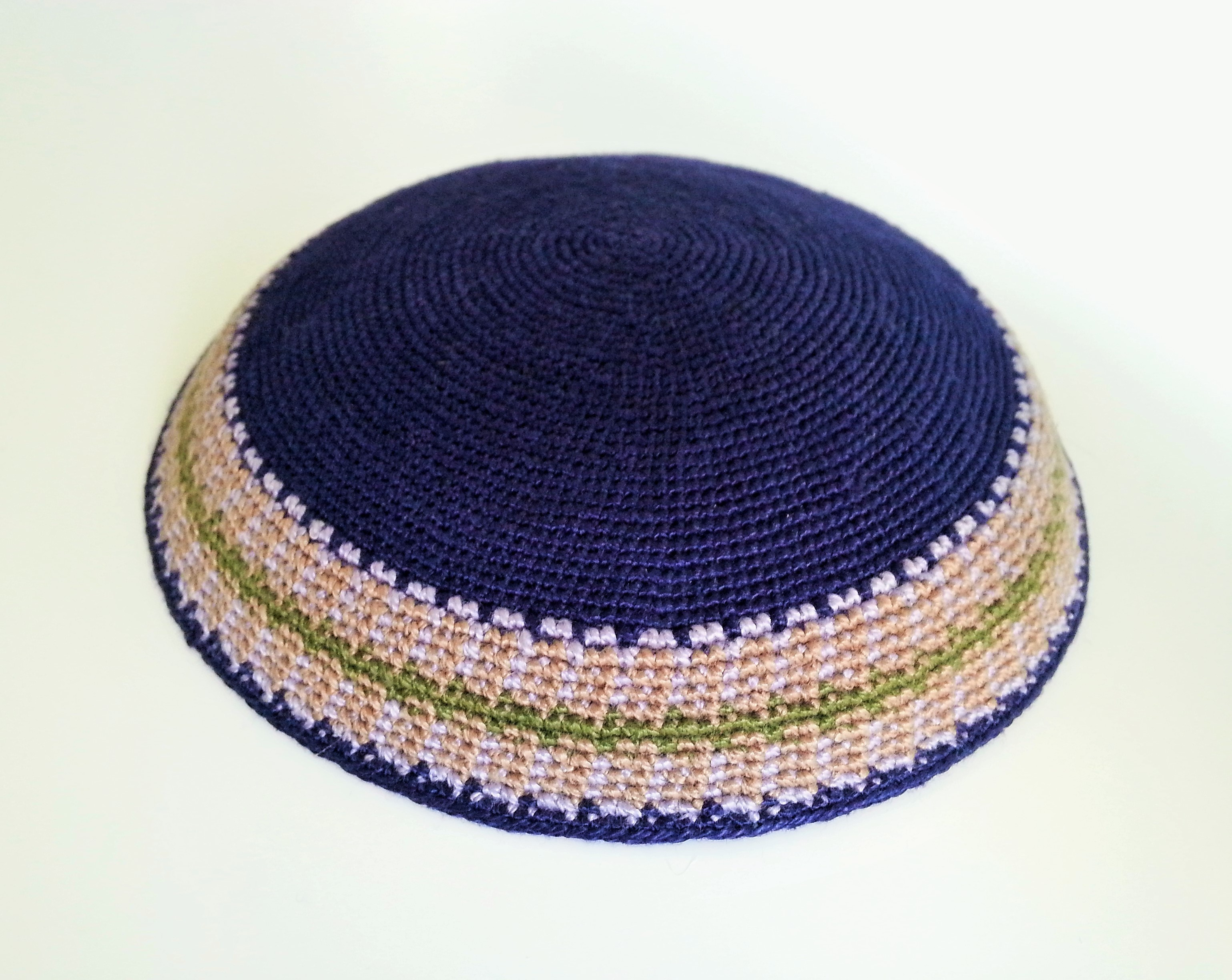 Large Navy Knitted Kippah with patterned border - Silver Point ...