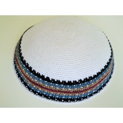 Large White Classic Knitted Kippah with patterned border