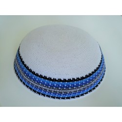 Large White Classic Knitted Kippah with Light Blue patterned