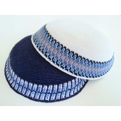 Large White Classic Knitted Kippah with Light Blue & Grey patterned border