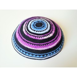 Black Special Round design Knitted Kippah