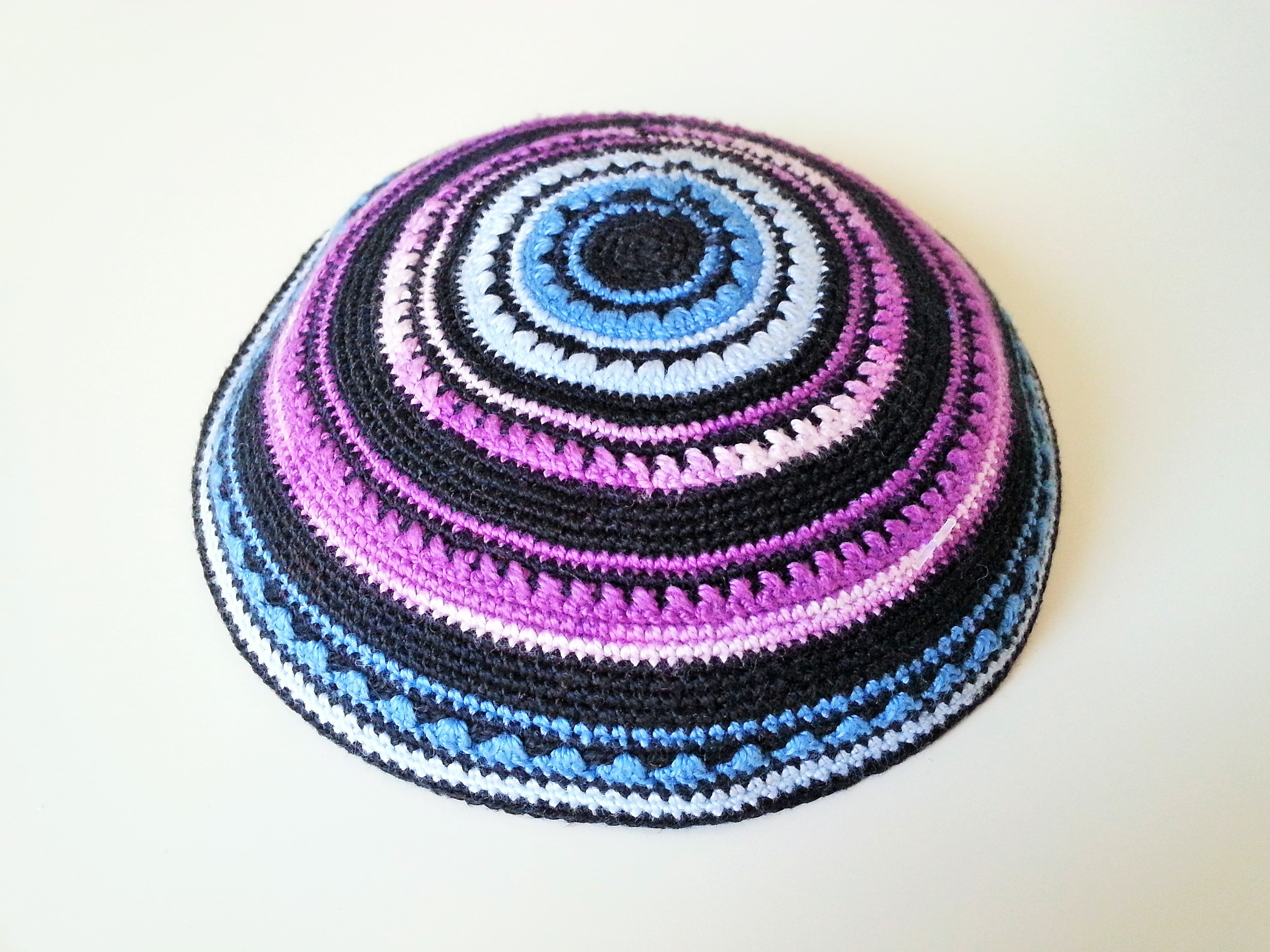 Black Special Round design Knitted Kippah - Silver Point Judaica ...