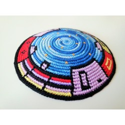 Jerusalem design Knitted Kippah