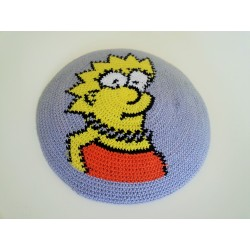 "Grey Knitted Kippah with ""The Simpsons"" design"