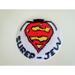 "White Knitted Kippah with ""Super-Jew"" design"