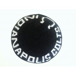 "Black Knitted Kippah with ""Indianapolis"" symbol"