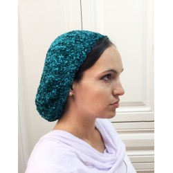 Turquoise / Black Velvet Traditional classic Snood