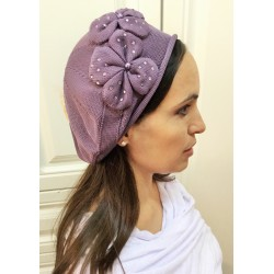 Purple Modern Knitted Barrette Hat- Flowers desighn