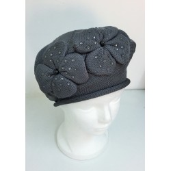 Grey Modern Knitted Beret Hat - Flowers design