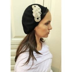 Fancy Black Modern Knitted Beret Hat with White Flower
