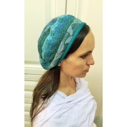 Rich Pattern designed Turquoise  Modern Knitted Barrette Hat