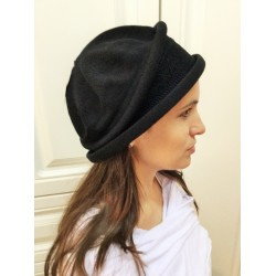 Fancy Black Knitted Narrow -Brimmed Hat