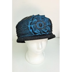 Fancy Black and Blue Narrow -Brimmed Hat