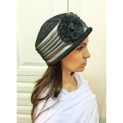 Fancy Black and Silver Narrow -Brimmed Hat