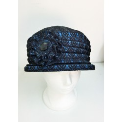 Unique Fancy Black and Blue Narrow -Brimmed Hat
