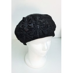 A Fancy Rich Flowers design Knitted Beret Hat