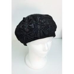 A Fancy Rich Flowers design Knitted Barrette Hat