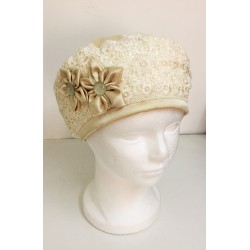 Fancy Off White Satin and Lace Beret Hat