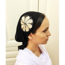 Pre tied bandana – White Flower design