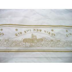 Tablecloth for Shabat Jerusalem design (Gold)