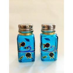 Glass Handmade Salt & Pepper Shakers - Pomegranate design