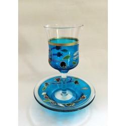 Handmade Glass Kidush Cup - Pomegranate design
